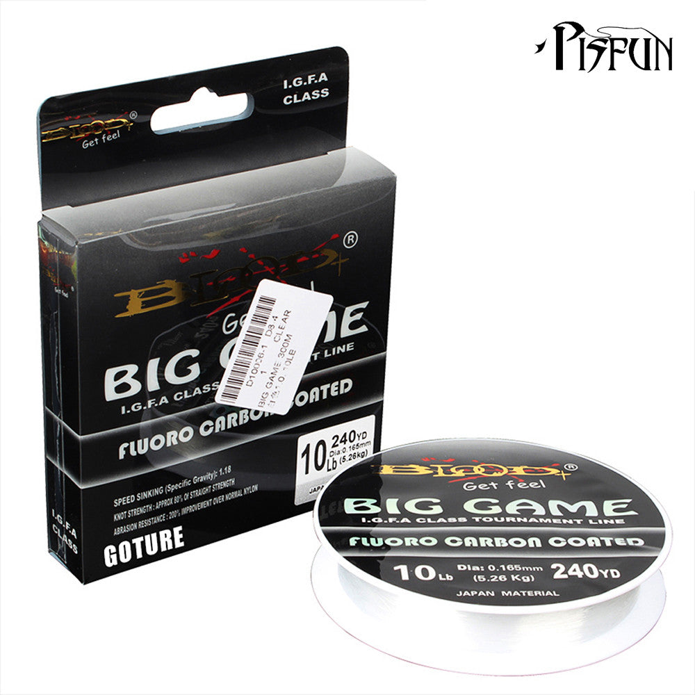 BIG GAME Leader Fluorocarbon Coated Fishing Line 1# to 9# 240-330YD