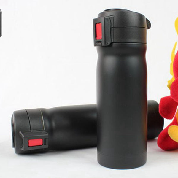 Bike Stainless Steel Water Bottle Black Red MTB Cycling Bicycle