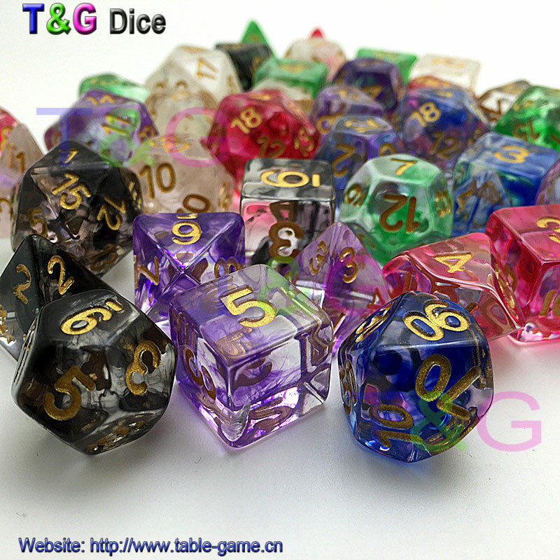 Brand New Dice Polyhedral Nebula Blue w White Set of 7 for D&d Game