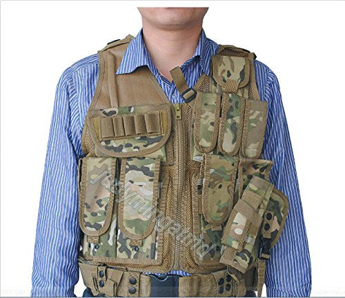 CVLIFE Adjustable Hunting Military Molle Style Tactical Vest with 9