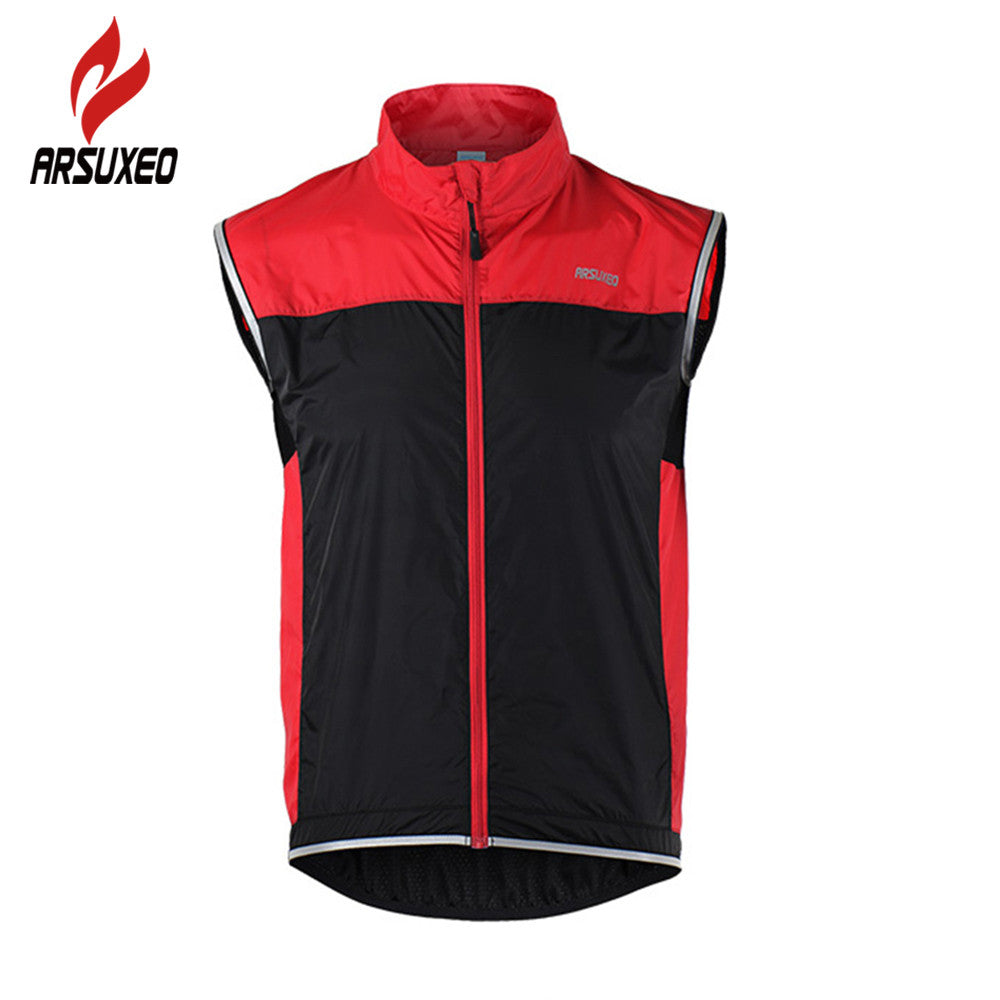 ARSUXEO Cycling Jacket Sleeveless Cycling Vest Windproof Waterproof
