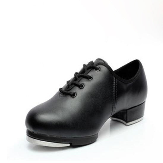 Human Leather Clogging Tap Shoes For Men And Women Lace Up Size