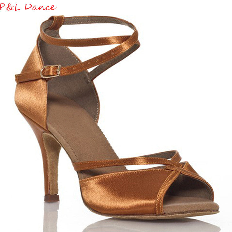 Customize Heels  Women's Latin Dance Shoes Satin Buckle Ballroom
