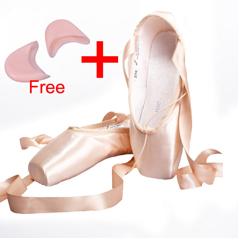 Canvas Ballet Pointe Shoes With Gel Toe Pad Girls Women's Pink
