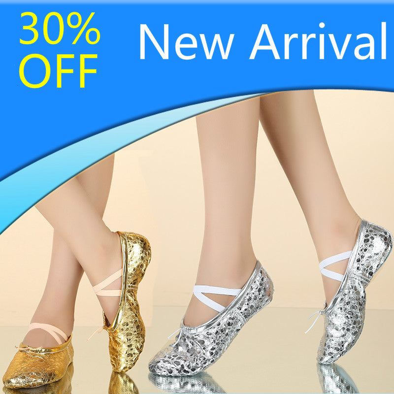 Discount PU Upper Gold Silver Colors Women's Belly Dance Shoes Suede