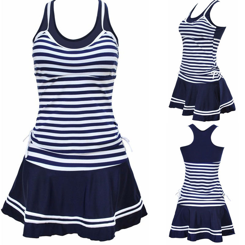 2016 Women School Sporty Style Swimwear Navy stripes Print Tankinis