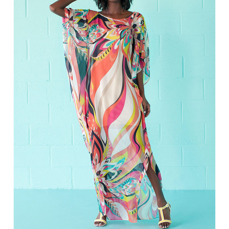 Beach Cover up Dress Kaftan Pareos Sarongs Sexy Cover-Up Chiffon