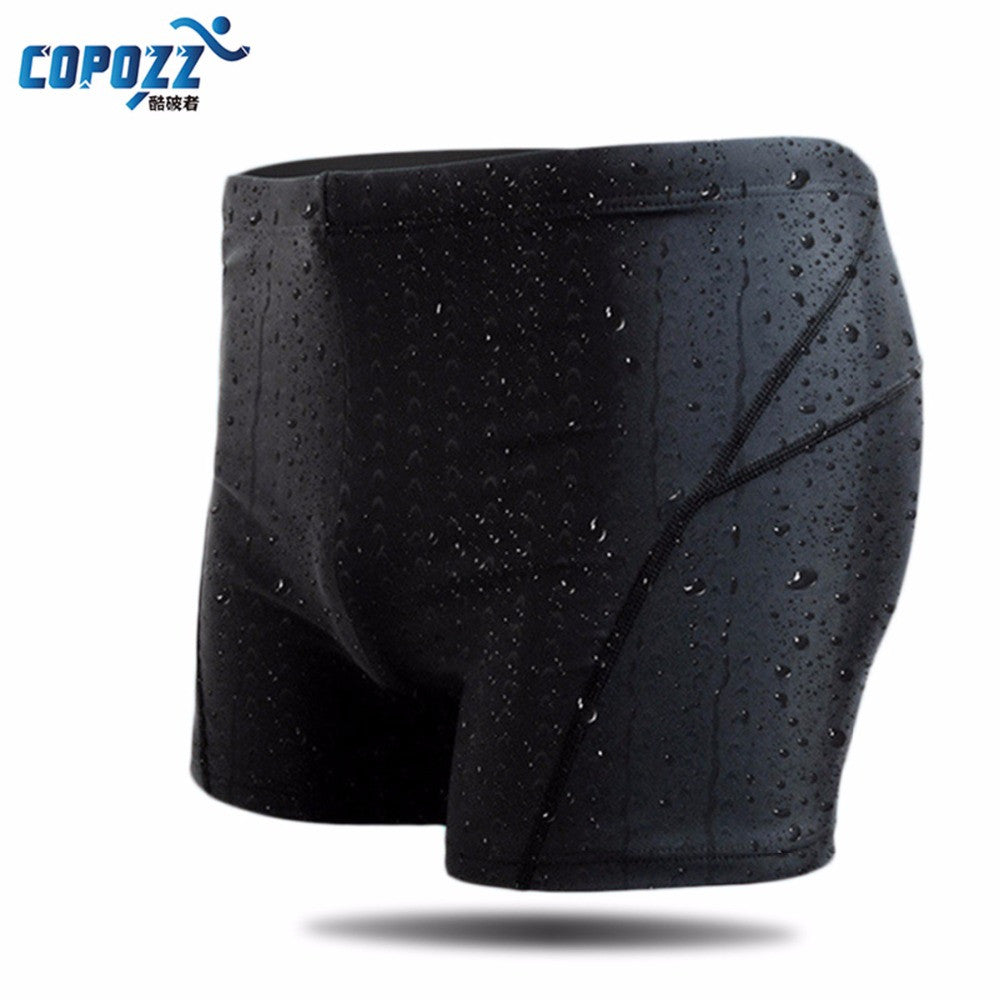 Copozz New Men Swim Suit Waterproof Square Leg Elastic Swimwear