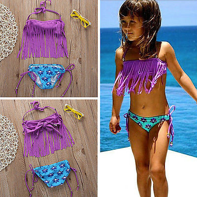 Cute baby little girls Bikini swimsuit bathing suit Girls Tassels