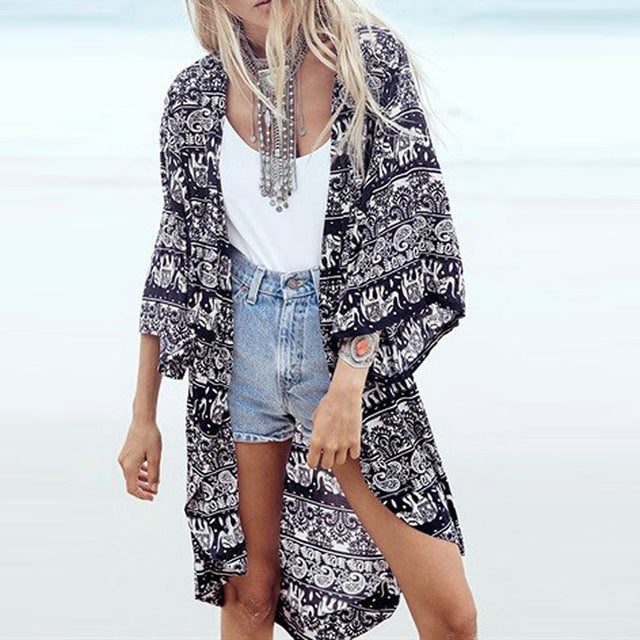 retro print beach cover up bathing suit cover ups summer dress
