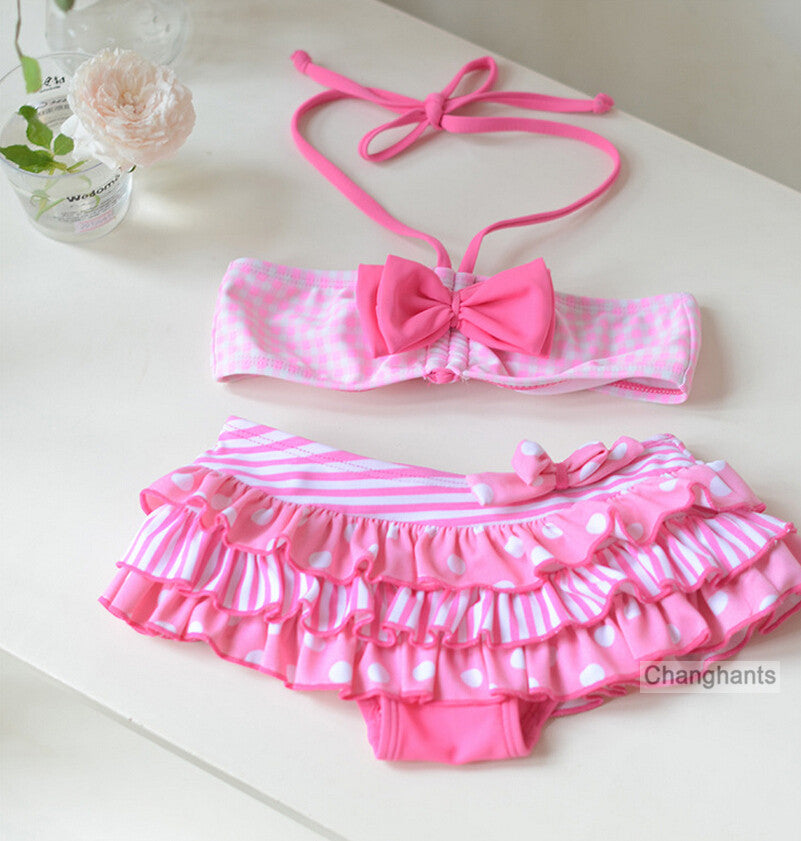 cute baby girls swimwear girl two pieces model pink plaid and bow-knot