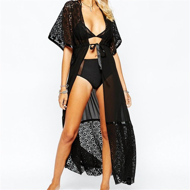 Beach Outings Cover up Chiffon Lace Robe Plage White Kaftan Dress