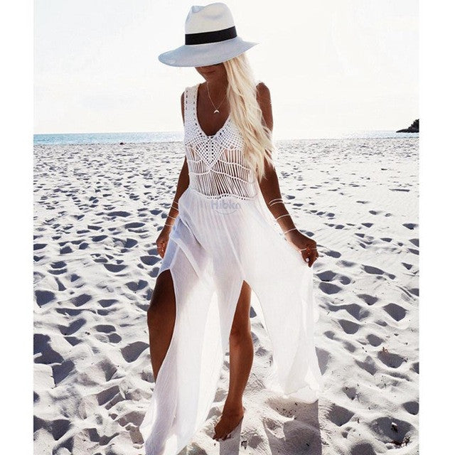 Crochet Chiffon patchwork beach dress tassels saida de praia crochet