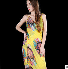 Deep V Wrap Chiffon Swimwear Bikini Cover Up  Strap   Flower  Sarong
