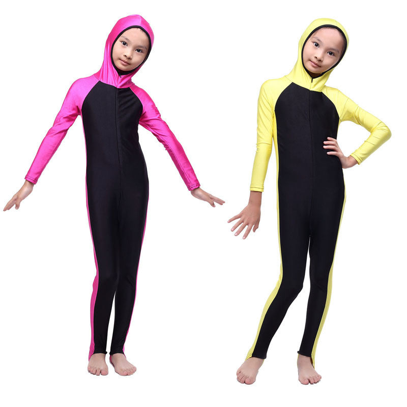 Children Girl One-piece Muslim Swimsuits 2017 New Kids Girl Full