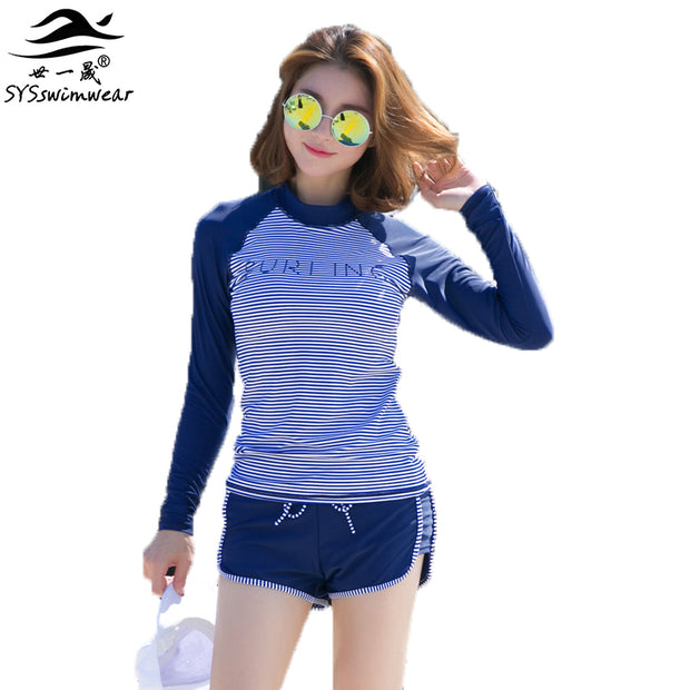 Summer Beach High Quality Navy Striped & Solid Patchwork Sport Women