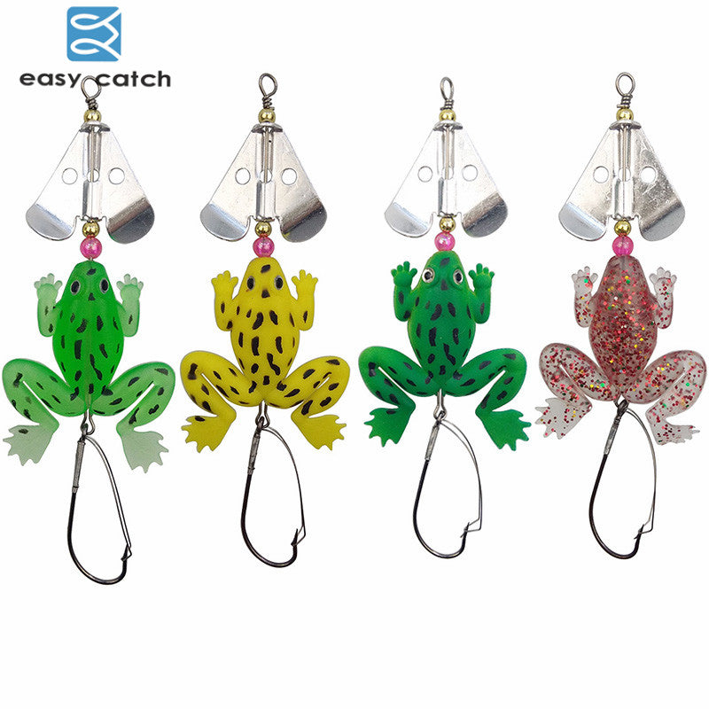Easy Catch 4pcs Rubber Soft Frog Fishing Lures Mixed Color Floating