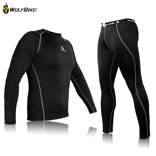 WOLFBIKE Mens Thermal Fleece Quick-dry Base Layer Under Wear Cycling