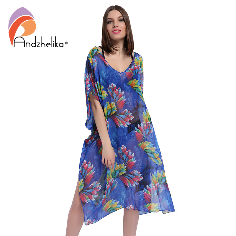 Andzhelika 2017 New Plus Size Beach Cover Up Women Print Chiffon beach