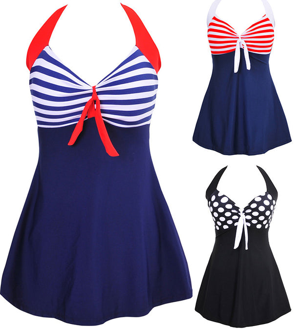 Sexy Stripe Padded Halter Skirt Swimwear Women One Piece Swimsuit