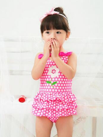 cute baby girls swimwear girl one piece pink white dots 3-8Y girls