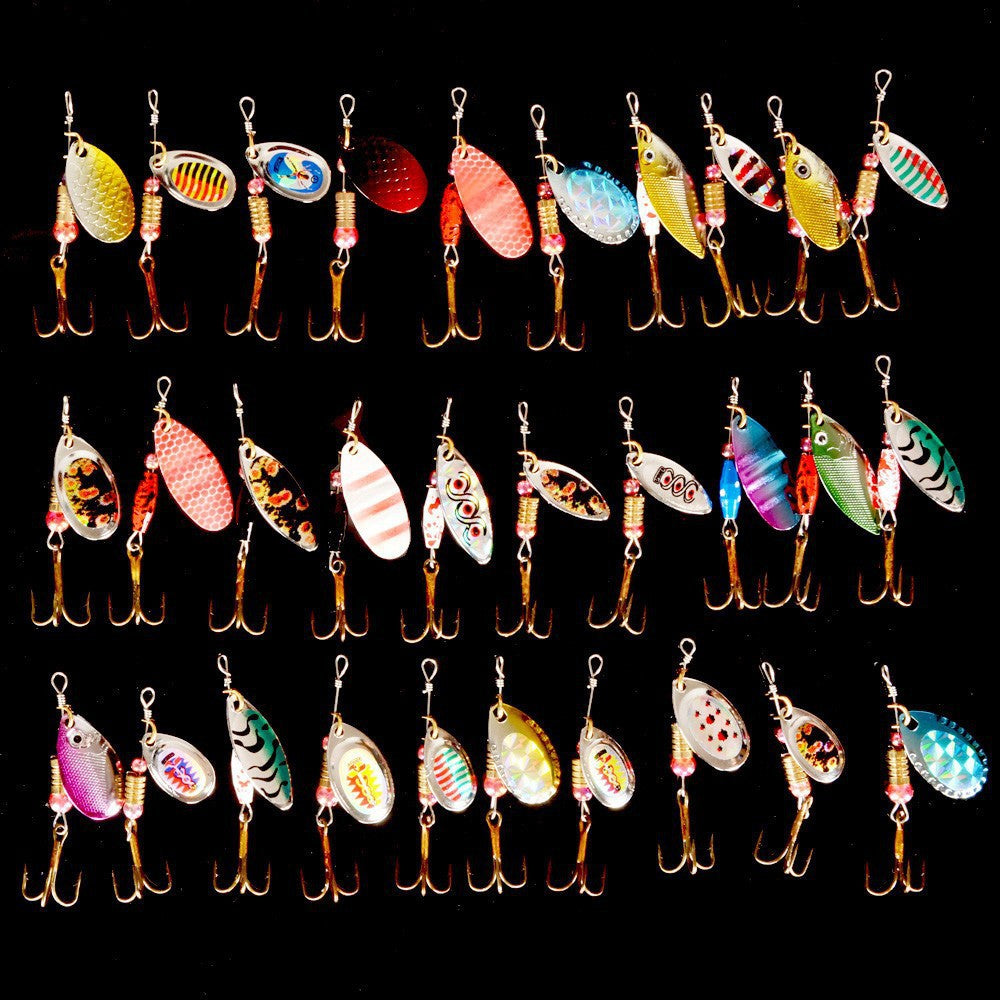 Hot 30pcs/lot Spinners Fishing Lure Mixed color/Size/Weight Metal