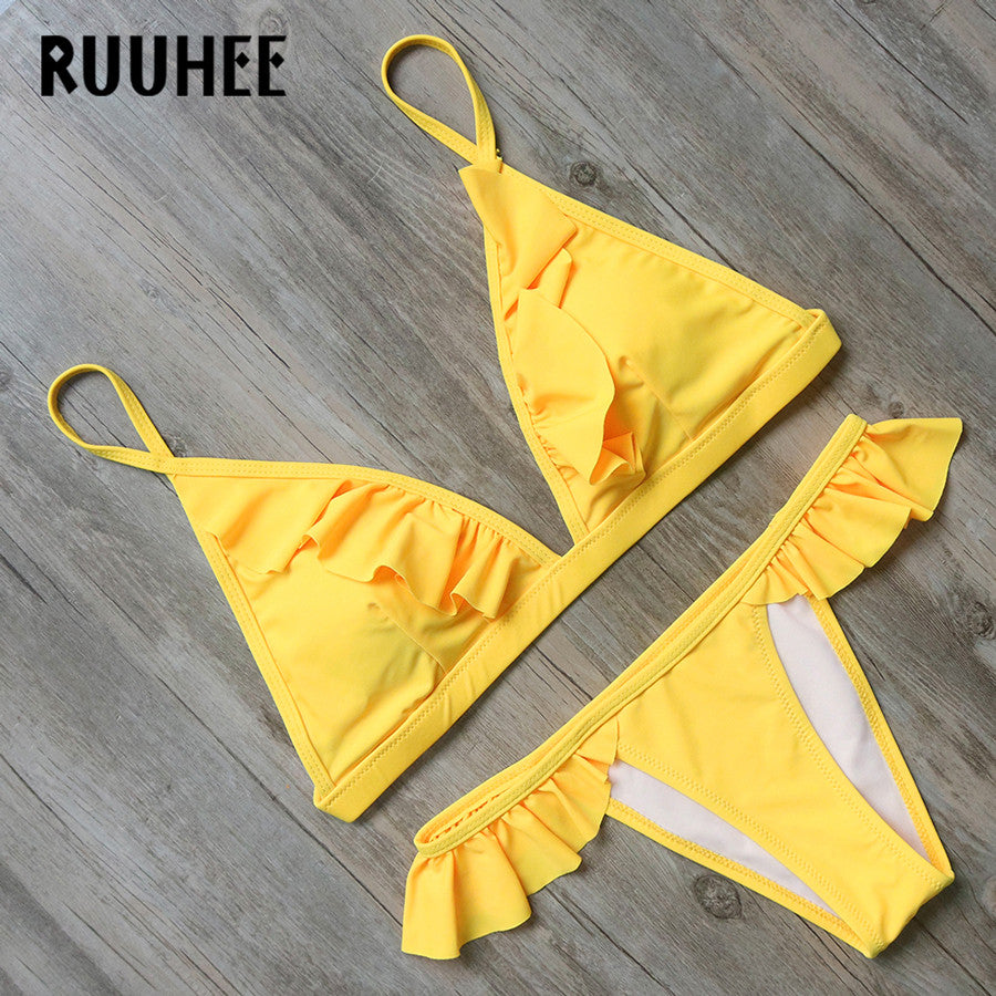 Bikini Swimwear Swimsuit Bathing Suit Women Sexy Lotus Fold Edge