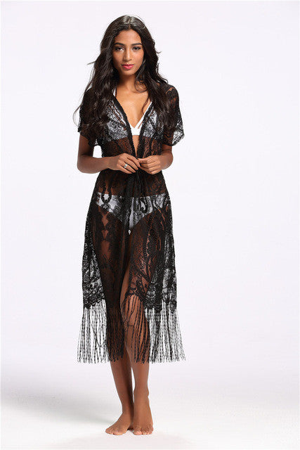 Crochet Bikini Cover ups Hollow Out Fringe Beach Wear Bathing Suit