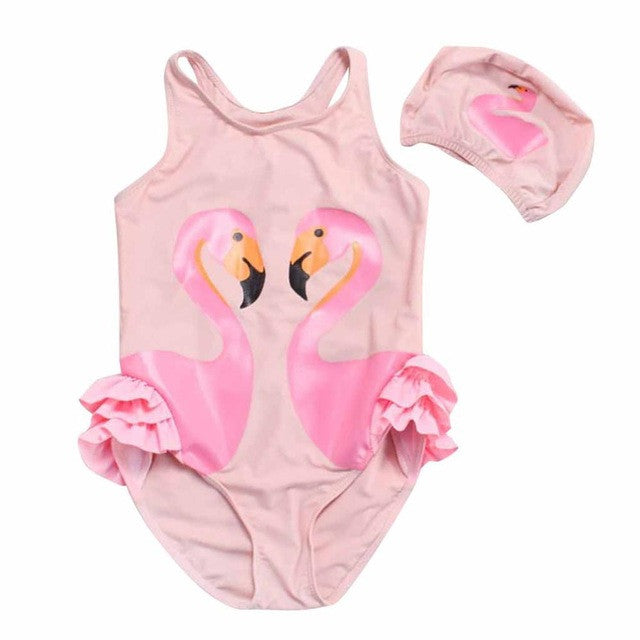 Baby Girl Swimwear 2017 New Cartoon Printed Kids Summer One Piece