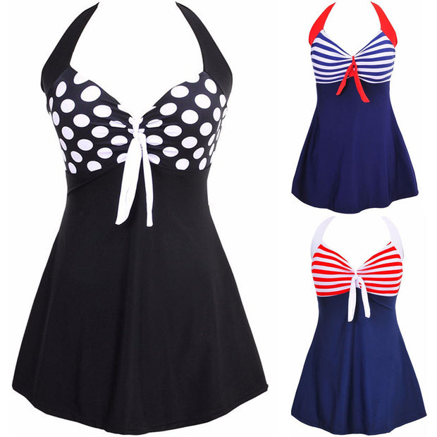 Newest Sexy  Stripe Padded Halter Skirt Swimwear Women One Piece