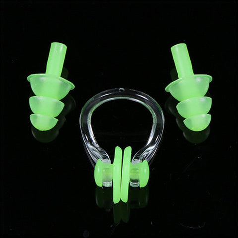 Soft Waterproof Silicone Swimming Nose Clip Earplugs Set Surf Diving P Hard Core Sports