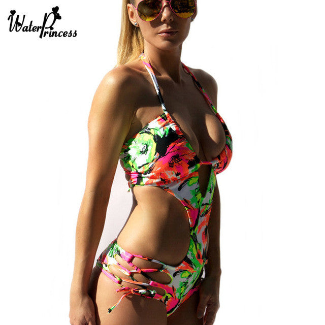Bandage Swimsuit Swimwear Women 2017 Bathing Suit Monokini Trikini One