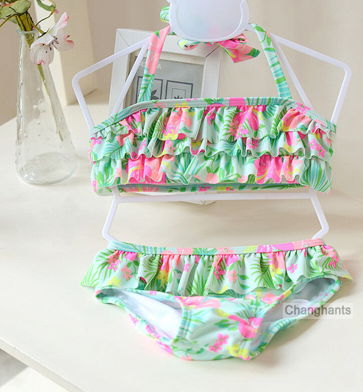 cute baby girls swimwear 2 pieces   light green with plants pattern