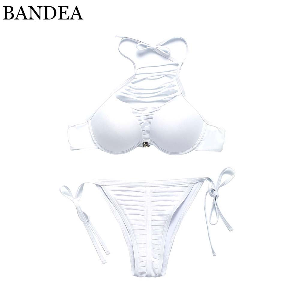 BANDEA bikini 2017 High Neck Bikini Swimwear Push Up Swimsuit Sexy