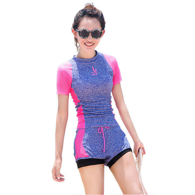 Beach sportswear Women Fitness tankinis Short sleeve swimsuit Hollow