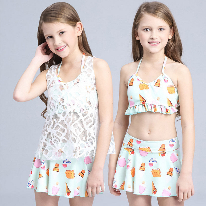Children Swimwear Three piece Girls Swimwear Kids Biquini Infantil