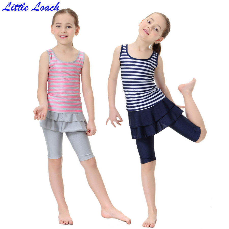 Children Girl's Muslim Swimsuits Kids Girl Islamic Striped Skirt 2