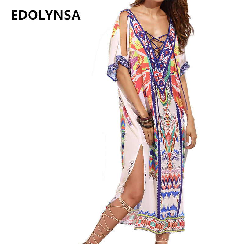 Beach Cover up Print Ethnic Kaftan Beach Cover ups Ladies Saida de