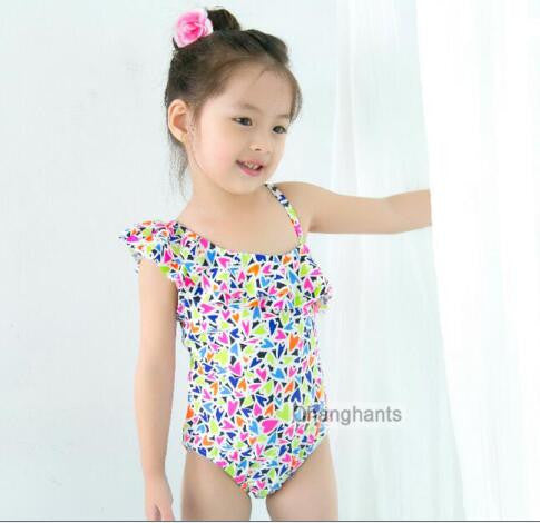 baby swimwear one piece with little hearts pattern 2-7Y  kids children