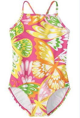 cute baby girls swimwear girl with hearts or classical flowers pattern