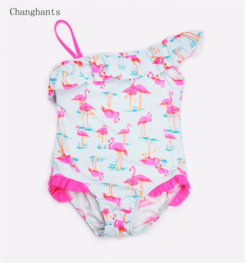 baby swimwear one piece light blue with pink flamingos pattern lace
