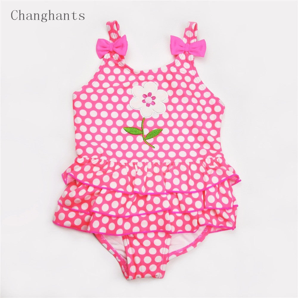 baby swimwear girl one piece pink white dots 3-8Y swimsuit girls