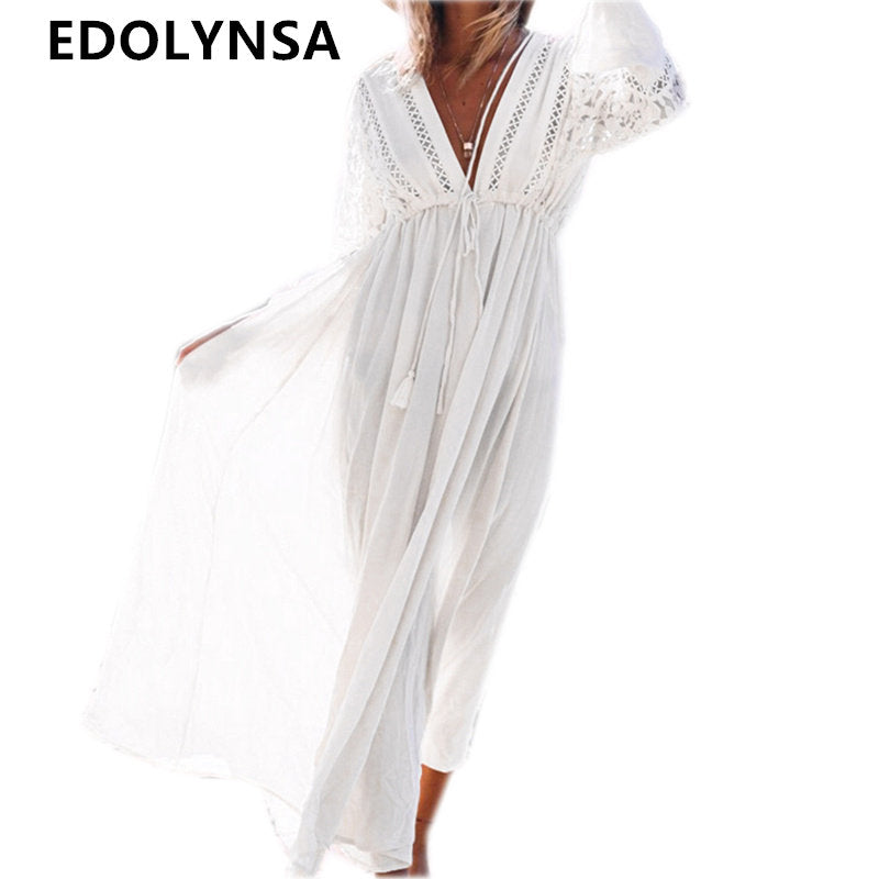 2017 White Rayon Beach Long Dress Swimwear Tunics Kaftan Beach Dress