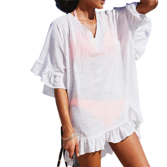 Bamboo Cotton Beach Cover up Swimwear White Swimsuit Robe de Plage