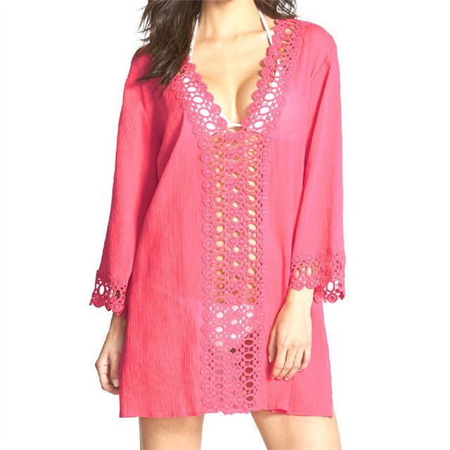 Beach Cover up V-neck Rayon Swimwear Ladies Robe Plage Bathing Suit