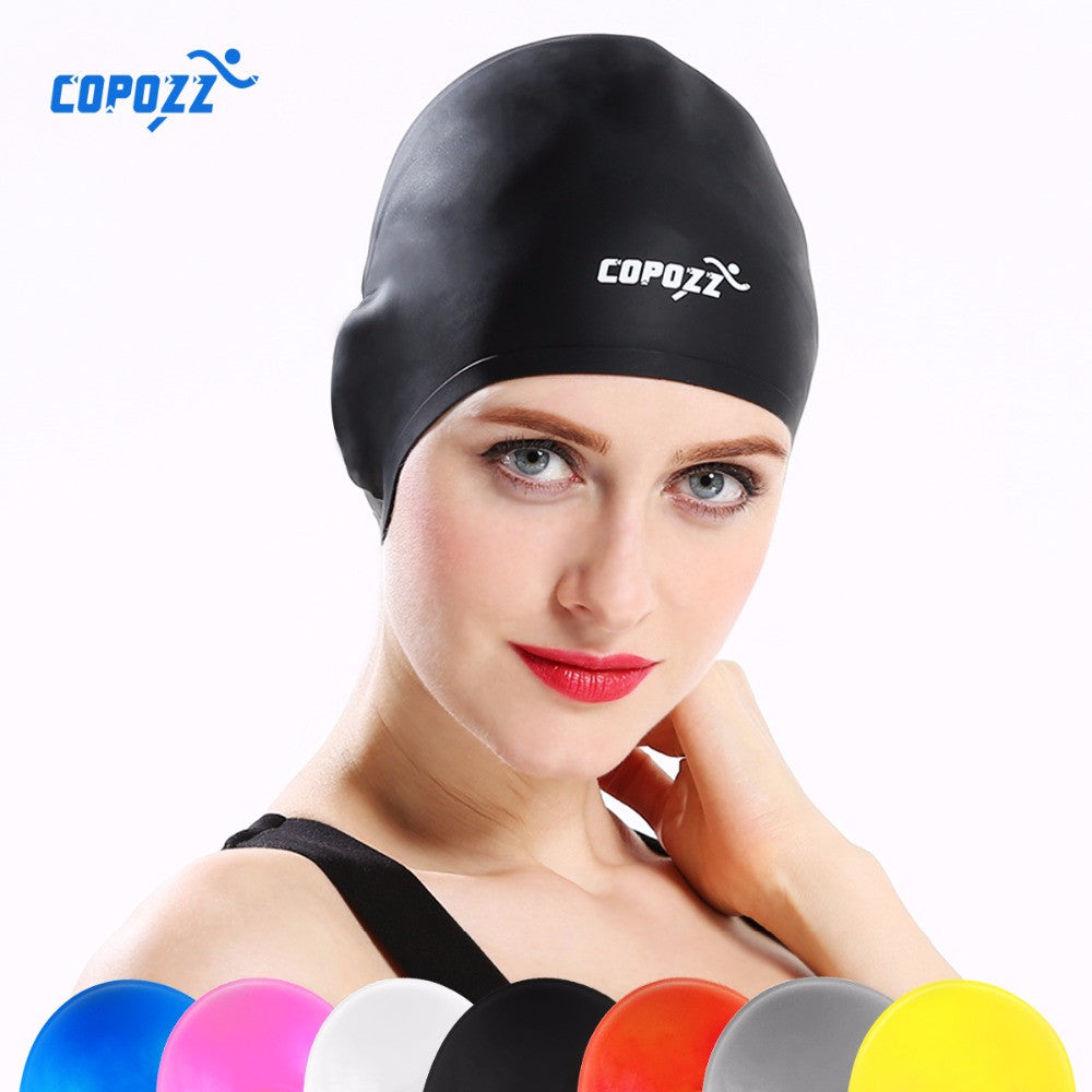 COPOZZ Silicone Waterproof 3D Swimming Caps for Men Women Long Hair