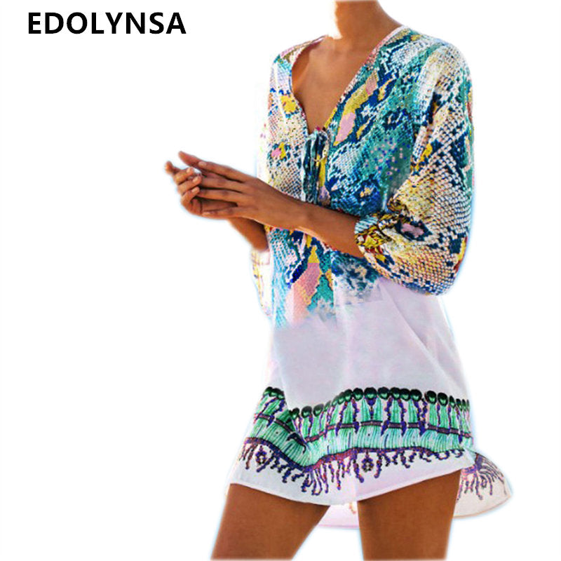 Bathing Suit Beach Caftan Swimsuit Cover up Print Chiffon Pareo