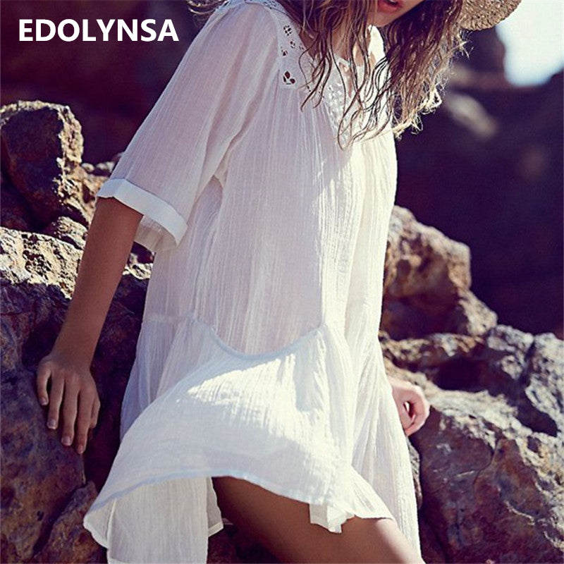 New Arrivals Beach Cover up Rayon White Swimwear Ladies Robe de