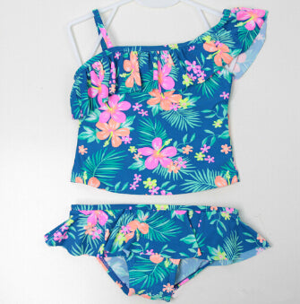 Baby Girls Two Pieces Swimsuits with Flower Pattern 2-8Y Kids Swimwear