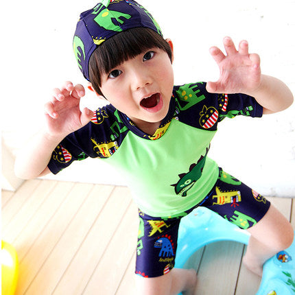 2017 NEW Children Swimsuit Two Pieces Cute Baby Boy Swimwear Cartoon
